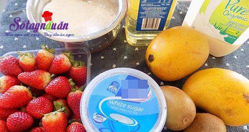 Cách làm mochi hoa quả dẻo thơm mát lành nguyên liệu