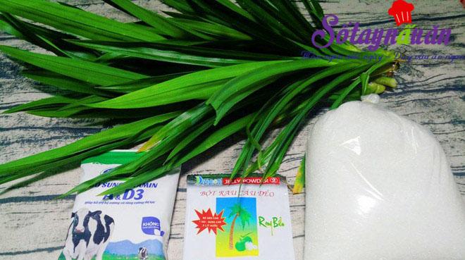Học làm thạch lá dứa sữa tươi thơm mát cực đã nguyên liệu