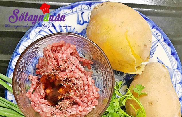 Cách làm súp khoai tây bọc thịt ngon mê mẩn nguyên liệu
