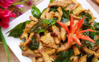 Các món ăn vặt, cách làm dạ dày chiên lá mắc mật 9