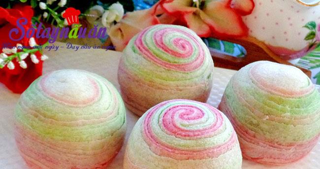 Học làm bánh trung thu cầu vồng bảy sắc đẹp mê mẩn