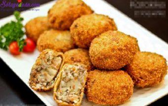 Món ăn vặt lạ, cách làm chả viên thịt bò khoai tây 1