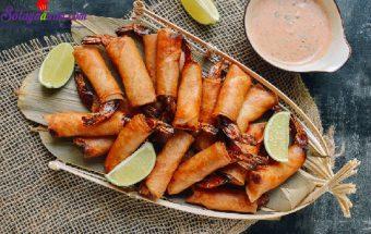 Nấu ăn, cách làm tôm cuộn dừa chiên giòn 1