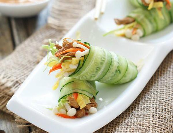 hướng dẫn cách nấu ăn ngon hàng ngày, Cách làm dưa chuột cuộn rau củ ăn hoài không chán
